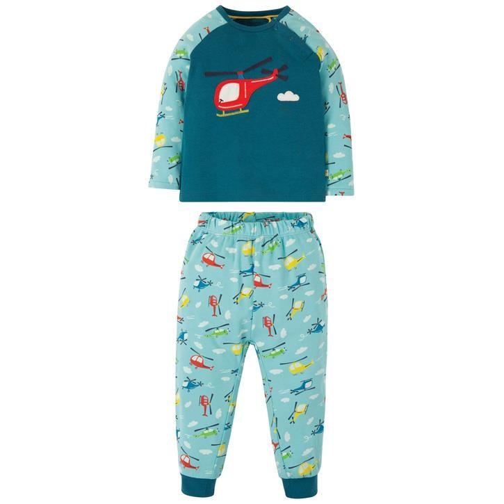 Frugi Stargaze Schlafanzug  Steely Blue/Helicoptor