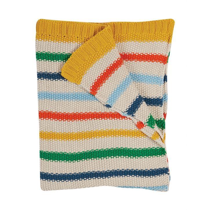 Frugi Strickdecke onesize Rainbow Stripe