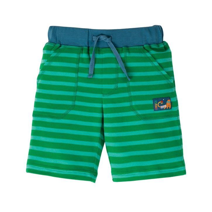 Frugi Stripy Shorts  Ribbit Green Stripe