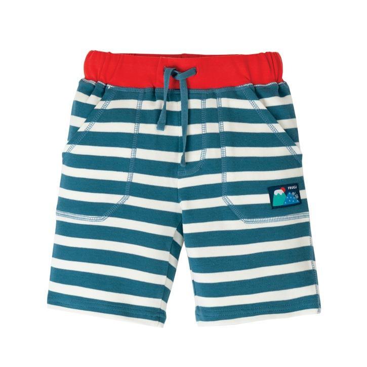 Frugi Stripy Shorts  Steely Blue Stripe