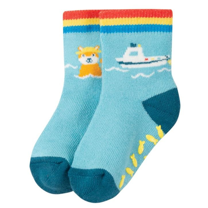 Frugi Sully Grippy Sock  Bright Sky/Boat 2-4J