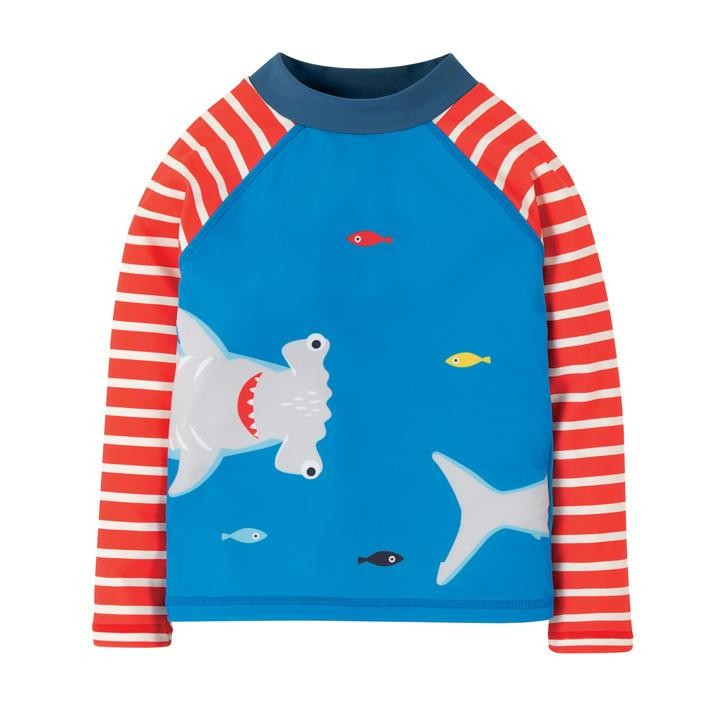 Frugi Sun Safe Rash Weste  Motosu Blue/Shark