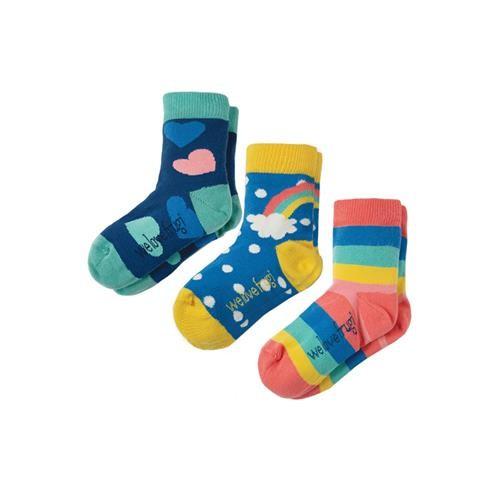 Frugi Susie Socks 3 Pack Rainbow Mulitpack