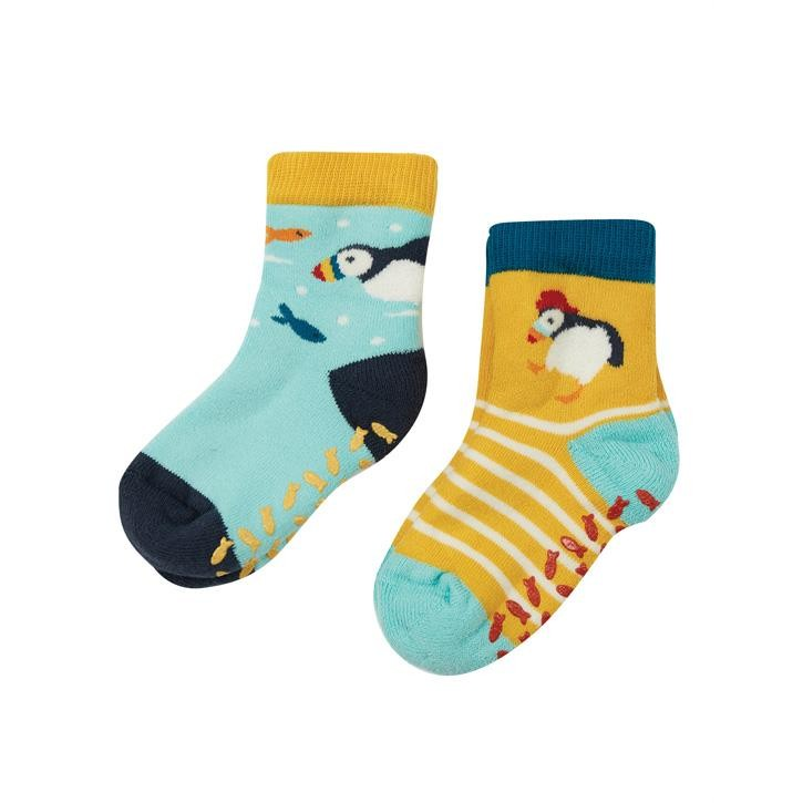 Frugi The National Trust Grippy Socken 2 Pack UK 3-6 Puffin