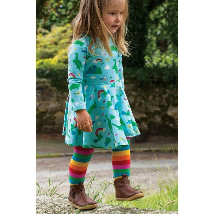 Frugi Toasty Strumpfhose Rainbow Multi Stripe_AW20