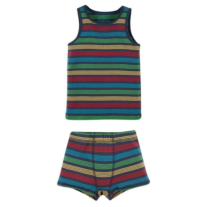 Frugi Zweiteilige Unterwäsche Set Jungen Tobermory Rainbow Stripe_AW20_2