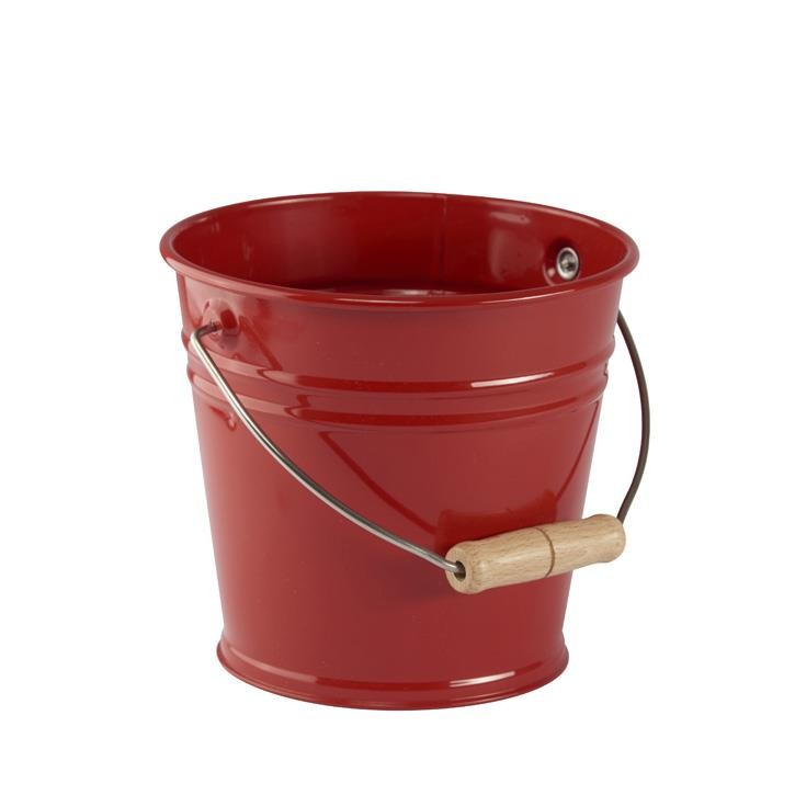 Glückskäfer 535054 Metalleimer mit Holzgriff, rot