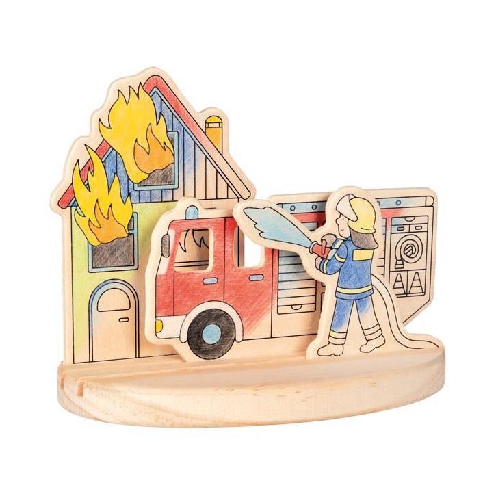 Goki Ausmalbild aus Holz zum Aufstellen, Feuerwehr 58713 4+ Holz