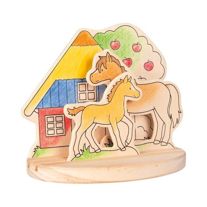 Goki Ausmalbild aus Holz zum Aufstellen, Ponyhof 58714 4+ Holz