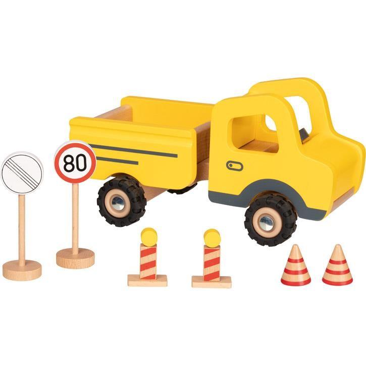 Goki Baustellenfahrzeug mit Verkehrsschildern 55894 3+ Holz