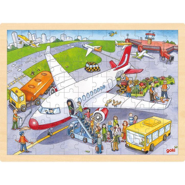 Goki Einlegepuzzle Auf dem Flughafen 57544 3+ Holz