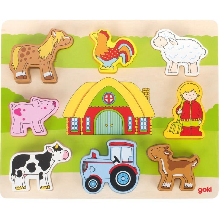 Goki Einlegepuzzle Auf unserem Bauernhof 57478 2+ Holz