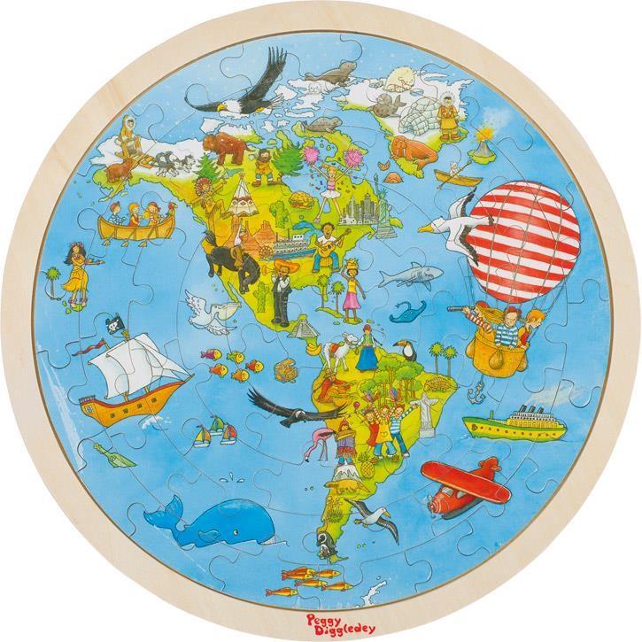 Goki Einlegepuzzle Auf Weltreise, Peggy Diggledey 57479 6+ Holz, Papier