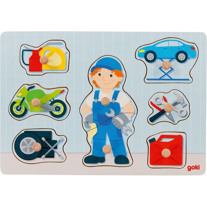 Goki Einlegepuzzle Automechaniker 57407 1+ Holz