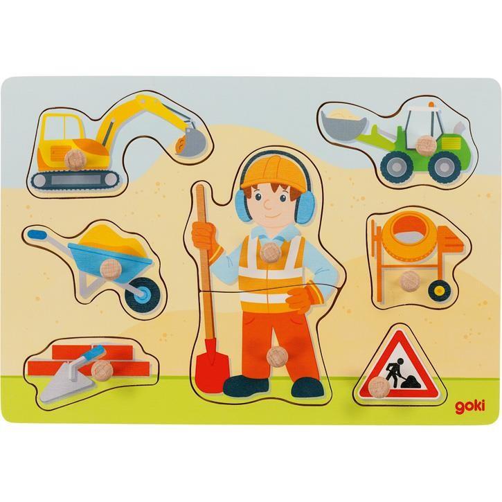 Goki Einlegepuzzle Bauarbeiter 57406 1+ Holz