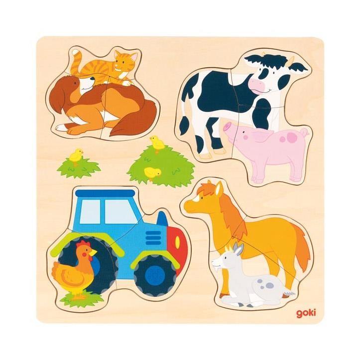Goki Einlegepuzzle Bauernhoftiere 57430 2+ Holz