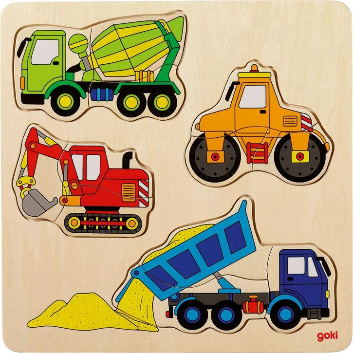 Goki Einlegepuzzle Baufahrzeuge 57901 2+ Holz
