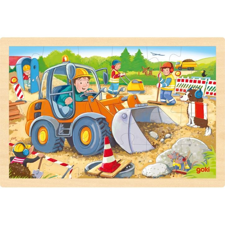 Goki Einlegepuzzle Baustelle 57411 1+ Holz