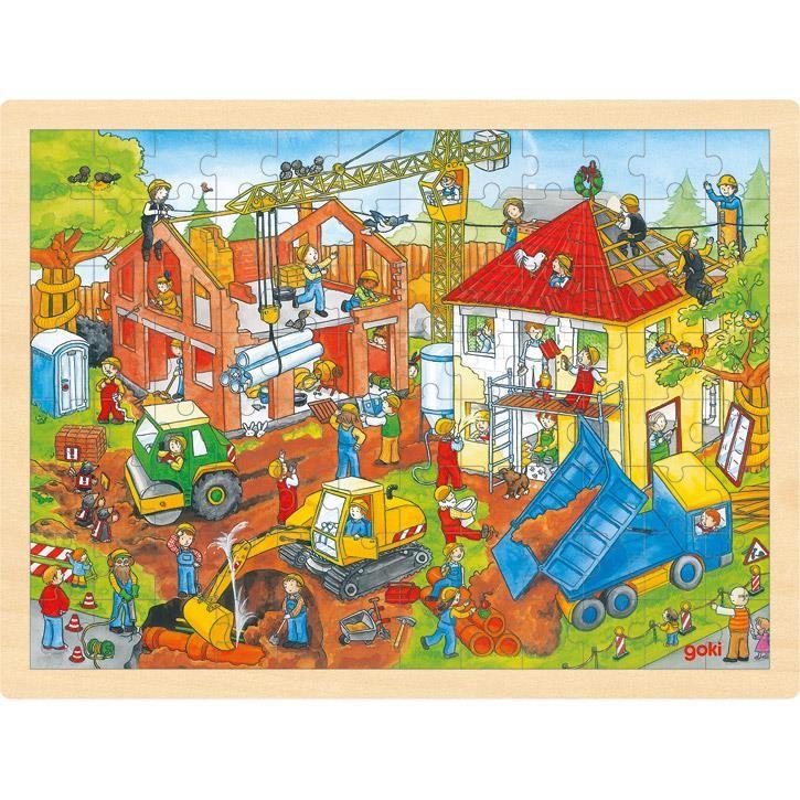 Goki Einlegepuzzle Baustelle 57670 3+ Holz