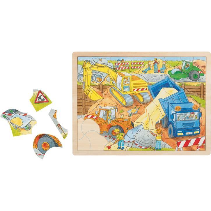 Goki Einlegepuzzle Baustelle 57693 3+ Holz