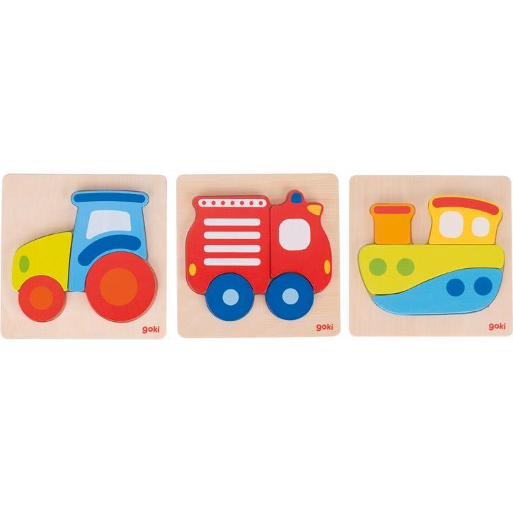 Goki Einlegepuzzle Feuerwehr, 2+, Holz