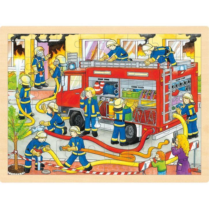Goki Einlegepuzzle Feuerwehreinsatz 57527 3+ Holz