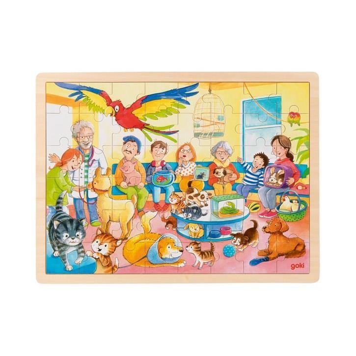 Goki Einlegepuzzle Im Wartezimmer vom Tierarzt 57435 3+ Holz