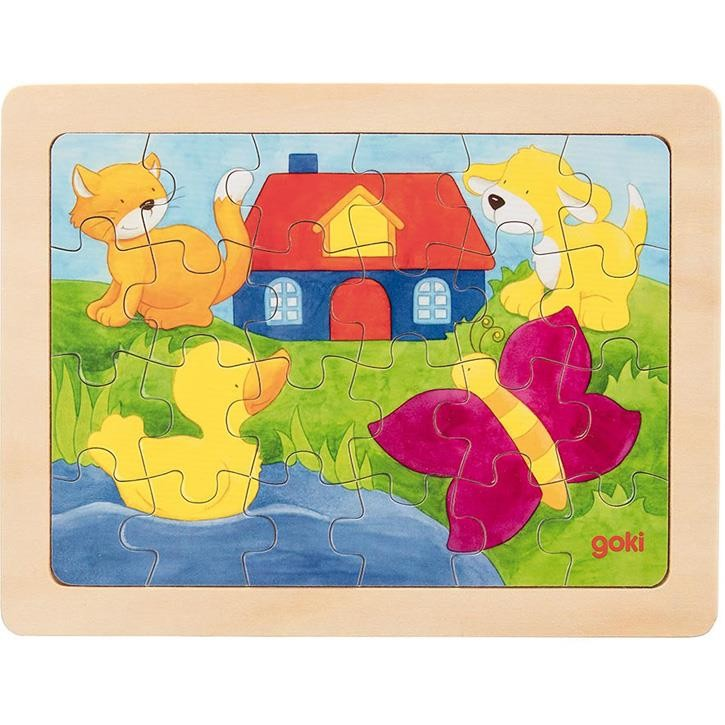Goki Einlegepuzzle Katze, Hund, Ente 57700 3+ Holz 1 Stück