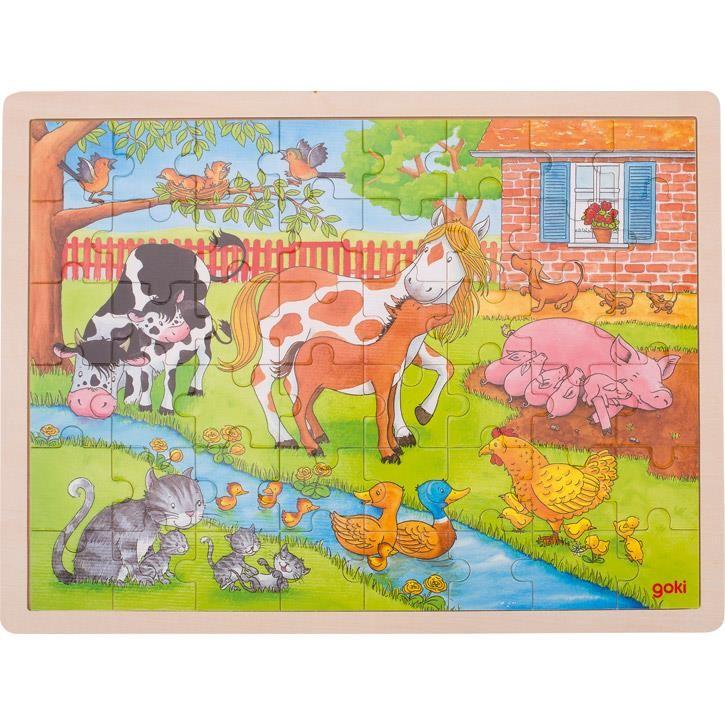 Goki Einlegepuzzle Leben auf dem Bauernhof 57745 3+ Holz
