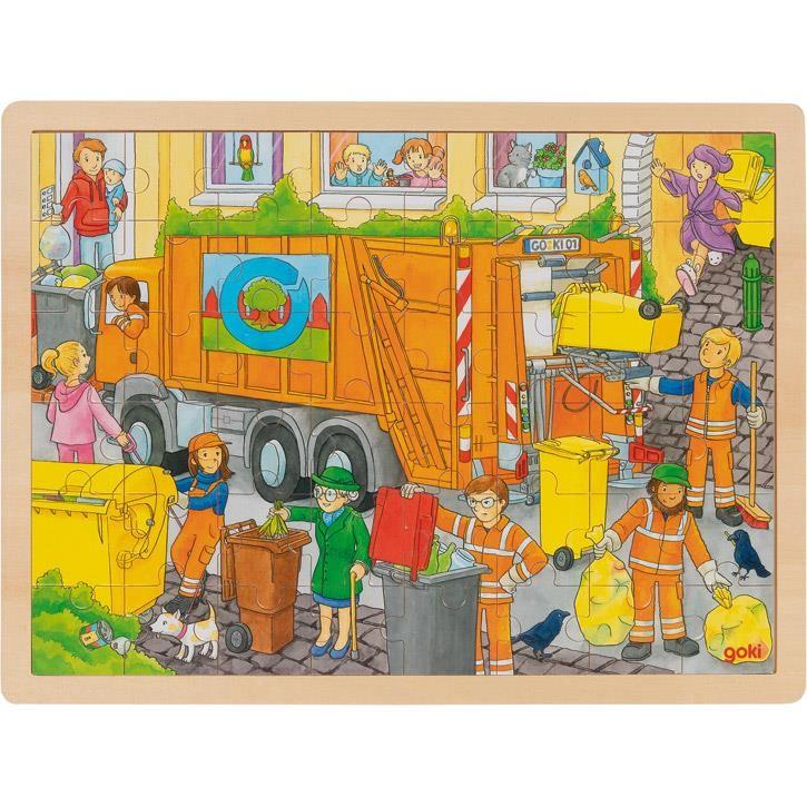 Goki Einlegepuzzle Müllabfuhr 57459 3+ Holz
