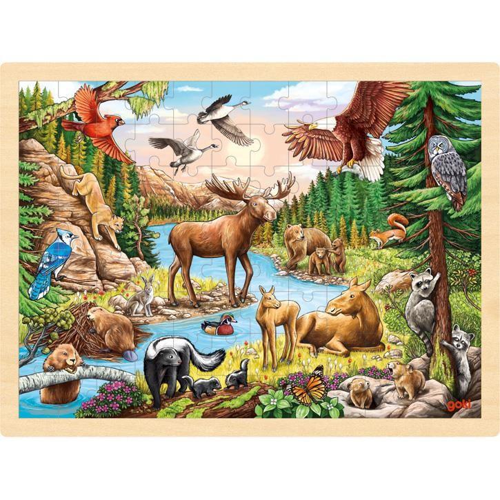 Goki Einlegepuzzle Nordamerikanische Wildnis 57409 1+ Holz