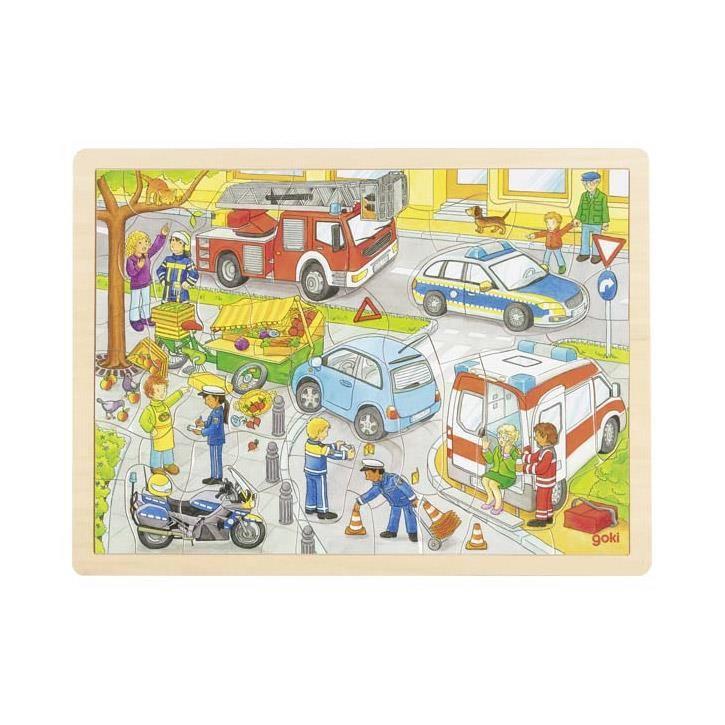 Goki Einlegepuzzle Polizeieinsatz 57429 3+ Holz