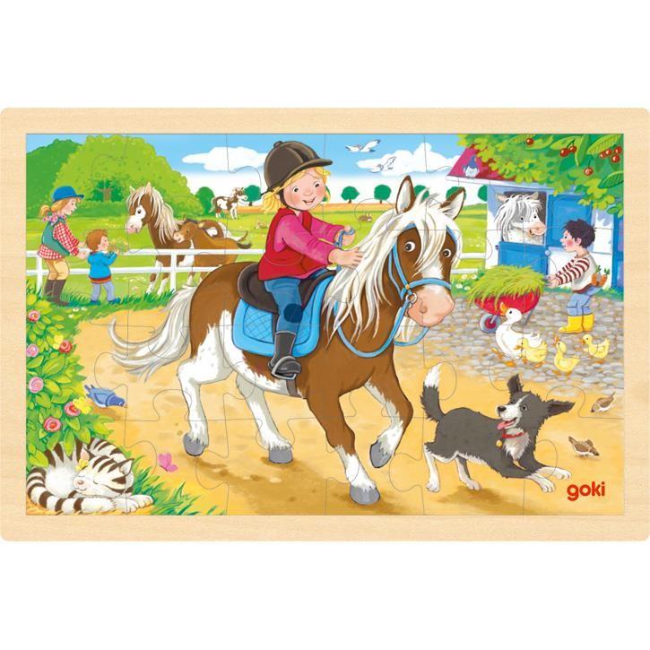 Goki Einlegepuzzle Ponyhof 57412 1+ Holz