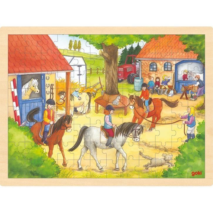 Goki Einlegepuzzle Reiterhof 57843 3+ Holz