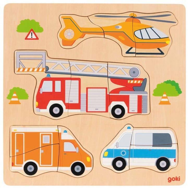 Goki Einlegepuzzle Rettungsfahrzeuge 57438 2+ Holz
