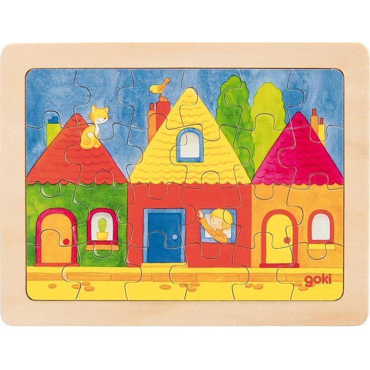 Goki Einlegepuzzle Stadthäuser 57700 3+ Holz 1 Stück