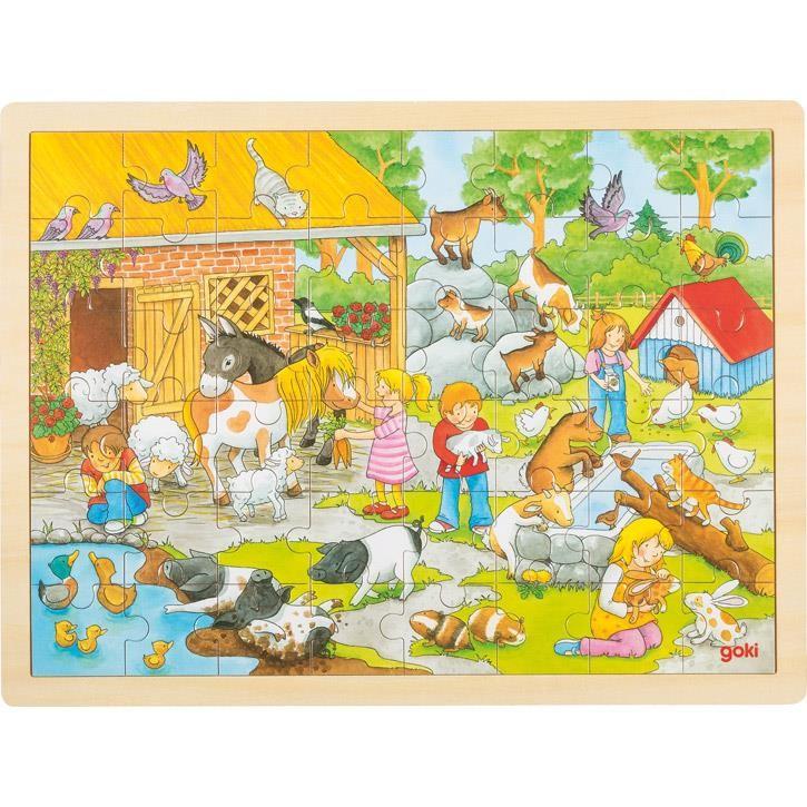 Goki Einlegepuzzle Streichelzoo 57685 3+ Holz