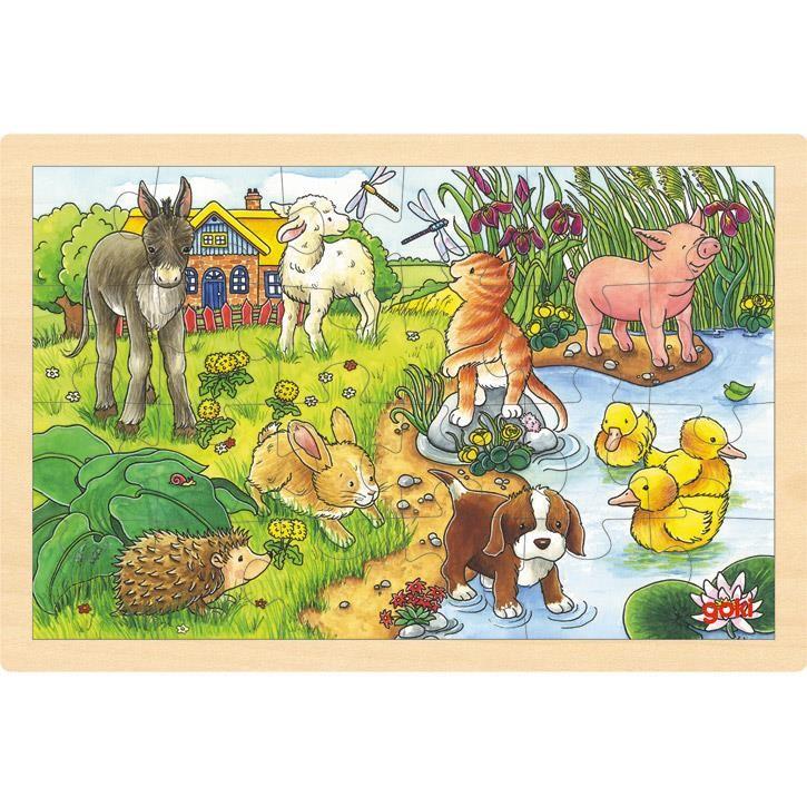 Goki Einlegepuzzle Tierkinder II 57890 3+ Holz