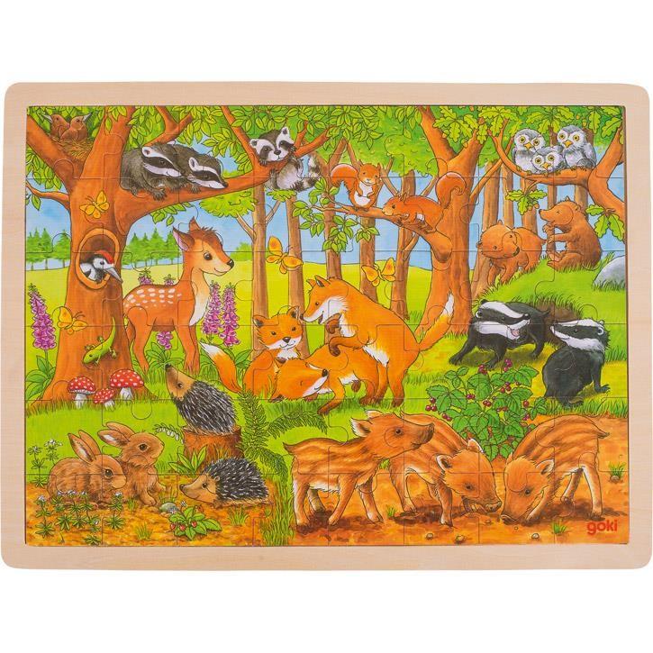 Goki Einlegepuzzle Tierkinder im Wald 57734 3+ Holz