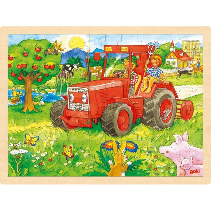 Goki Einlegepuzzle Traktor 57655 3+ Holz