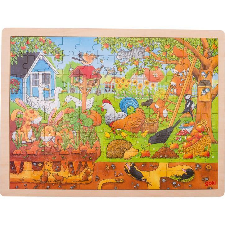 Goki Einlegepuzzle Unser Garten über und unter der Erde 57743 3+ Holz