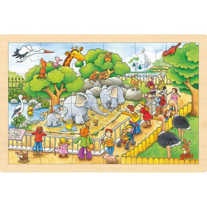 Goki Einlegepuzzle Zoobesuch 57808 3+ Holz