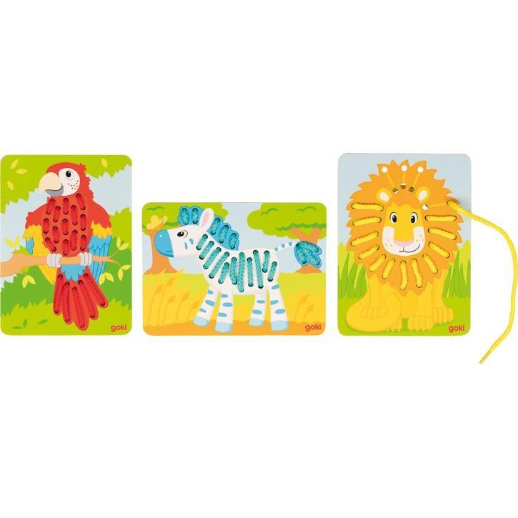 Goki Fädelspiel Papagei, Löwe, Zebra 58686 3+ Holz