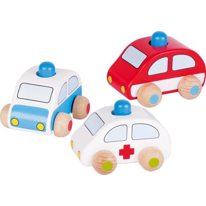 Goki Fahrzeuge mit Hupe, Polizei, Feuerwehr und Krankenwagen 55015 1+ Holz