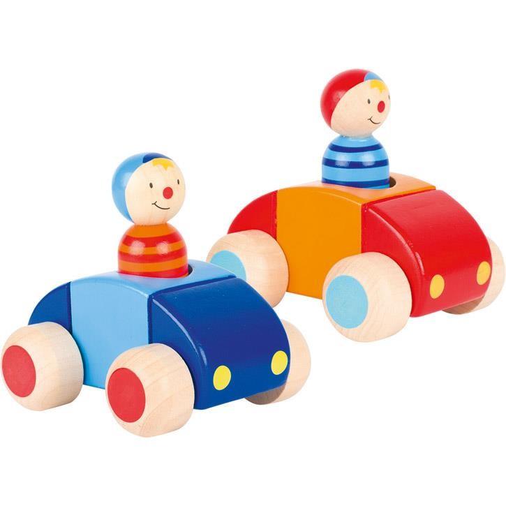 Goki Fahrzeuge mit Männchen und Hupe 55014 1+ Holz