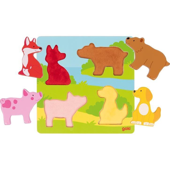 Goki Fühlpuzzle Tiere 57433 1+ Holz, Textil