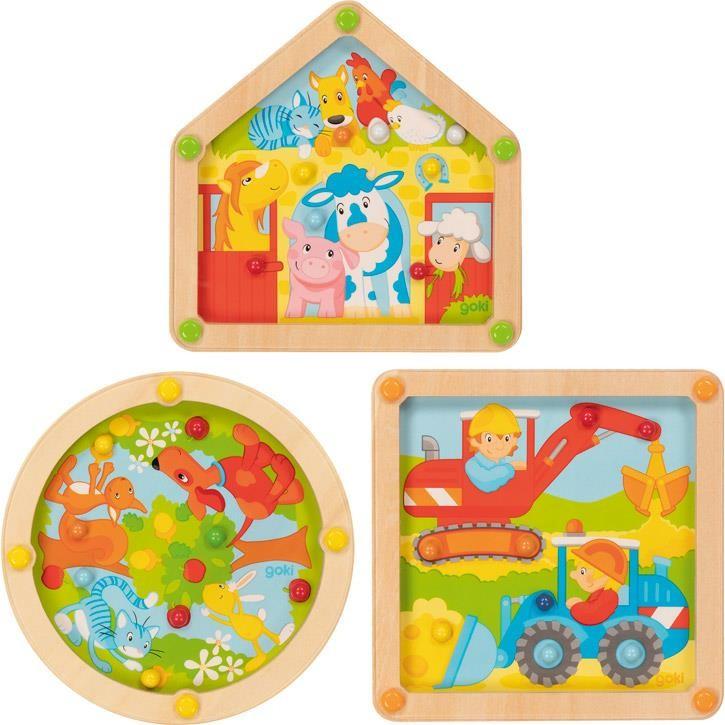 Goki Geduldspiele Baustelle, Garten und Bauernhof 62907 5+ Holz
