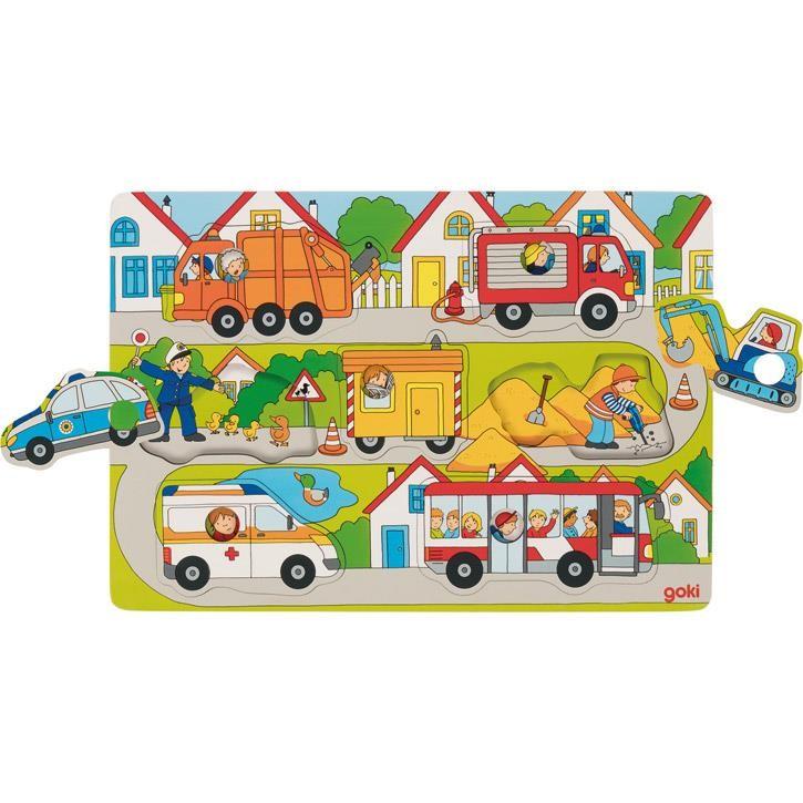 Goki Hintergrundbildpuzzle Auf der Straße 57474 1+ Holz