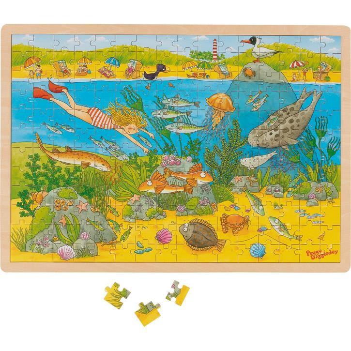 Goki Hintergrundbildpuzzle Unterwasserwelt, Peggy Diggledey 57454 4+ Holz