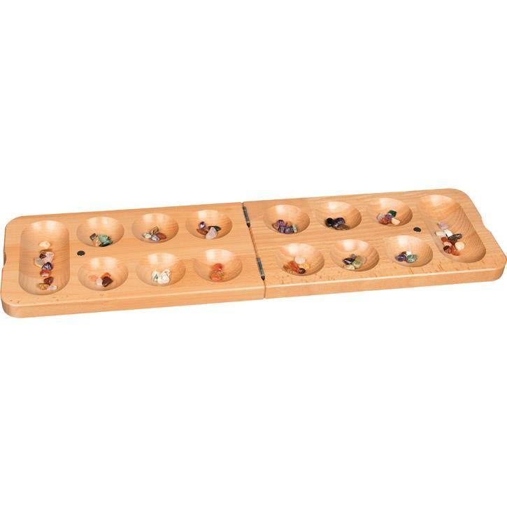 Goki Kalaha-Spiel mit Halbedelsteinen, Klappformat 56789 8+ Holz